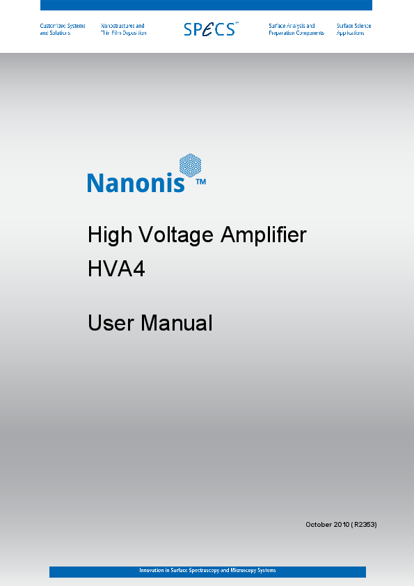 Nanonis High Voltage Amplifier HVA4