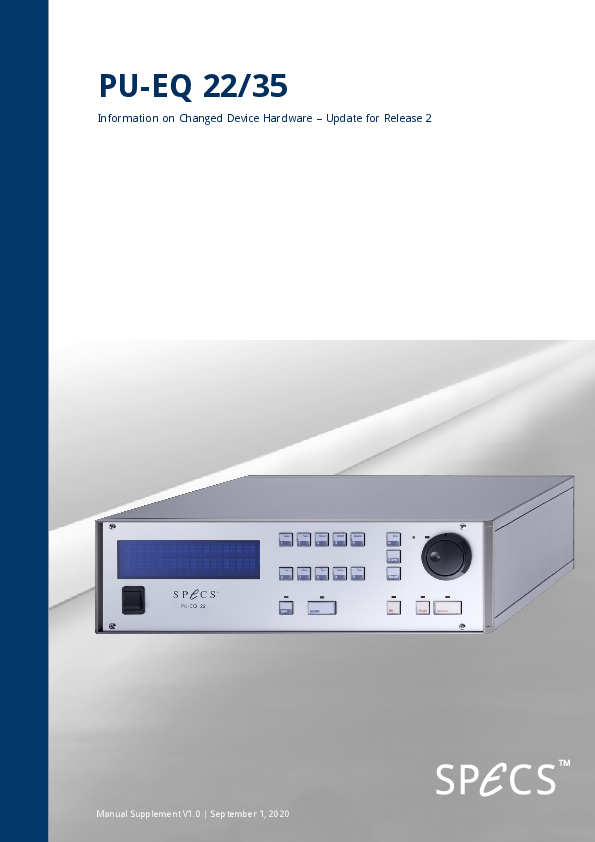 Power supply for electron gun EQ 22/35 - Manual Supplement