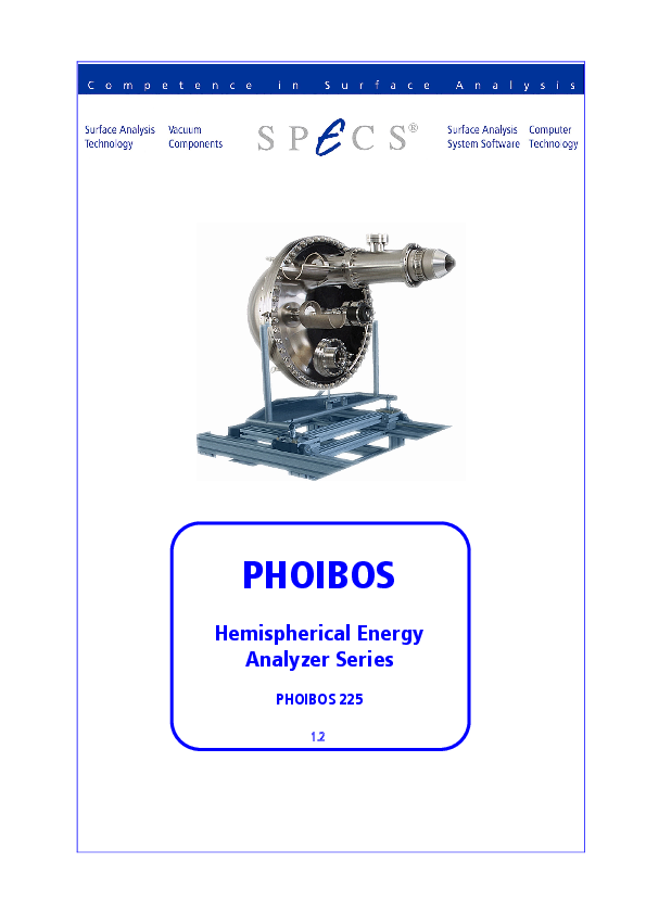 PHOIBOS Hemispherical Energy Analyzer Series PHOIBOS 225