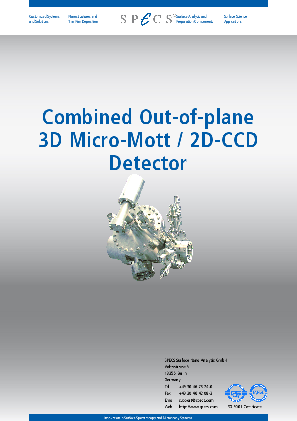 Combined Out-of-plane 3D Micro-Mott / 2D-CCD Detector