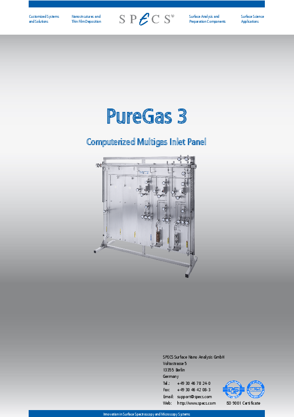 PureGas 3 Computerized Multigas Inlet Panel