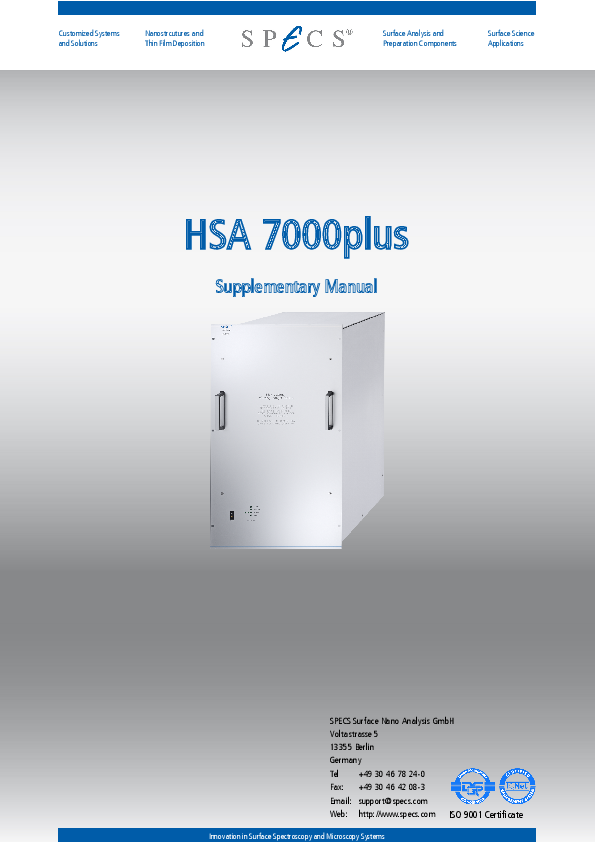 HSA 7000plus Supplementary Manual