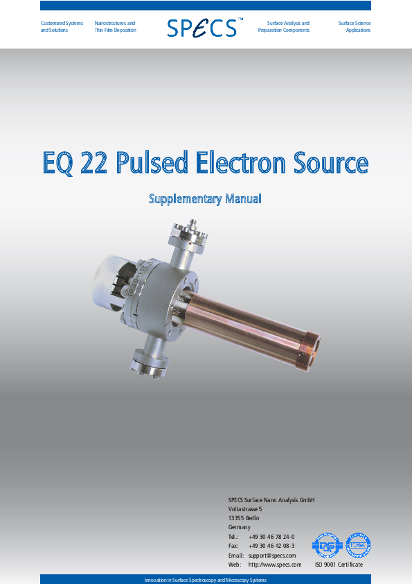 EQ 22 Pulsed Electron Source Supplementary Manual