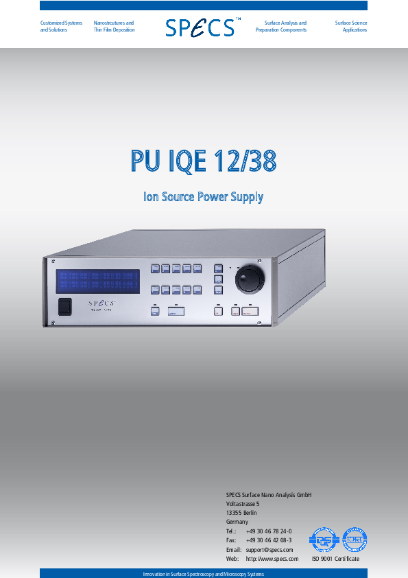 PU IQE 12/38 Ion Source Power Supply