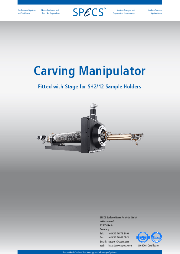 Carving Manipulator Fitted with Stage for SH2/12 Sample Holders