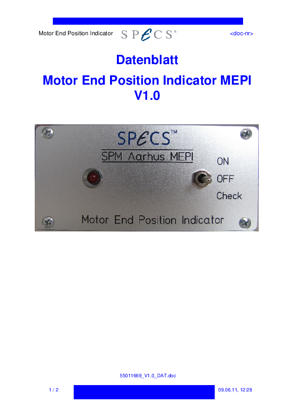 Specification Sheet for Motor End Position Indicator MEPI